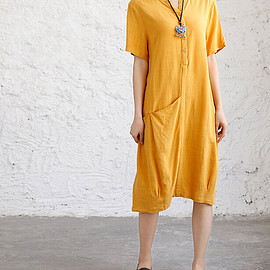 dresses - Loose fitting cotton linen dress Women Short sleeve dresses