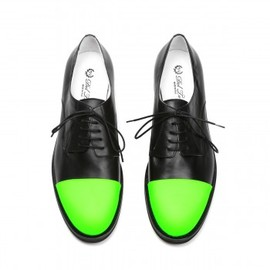 DEL TORO - Men's Black Nappa Oxford with Green Reflex Toe