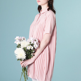 THE WHITEPEPPER - Pleated Shirt Dress Pink