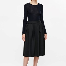 COS - Gathered raw-cut skirt in Black