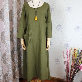 dress a dress - olive green dress, Linen Kaftan