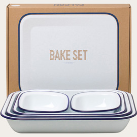 Traditional Pie Dish Set, Classic Enamel White with Blue Rolled Rims
