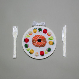 suzukirie - embroidered main dish with vegetables for restaurant Chez Nous