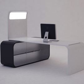 Sunset / Office workspace with a functional bookcase and a LED light