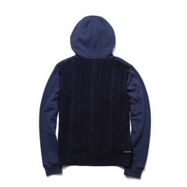 uniform experiment - BACK CABLE KNIT PANEL ZIP UP SWEAT PARKA