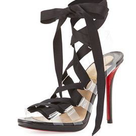 Christian Louboutin - Nymphette Satin Lace-Up Red Sole Sandal
