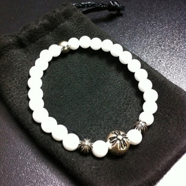 Chrome Hearts - 6mm White Jade Beads Bracelet