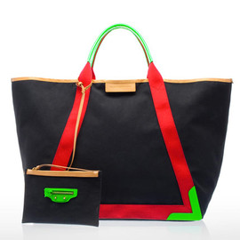 BALENCIAGA - 2011 spring / Canvas Tote Bag with Leather Lining in Black-1