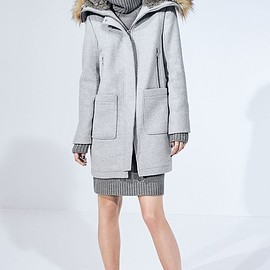 Vince Camuto - Vince Camuto Wool Blend Duffle Coat with Faux Fur Trim Hood