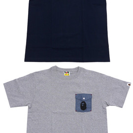 A BATHING APE - CHAMBRAY POCKET TEE