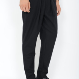 LAD MUSICIAN - 1TUCK PANTS(WOOL JERSEY)BLACK