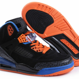 Discount buy Air Jordan Spizike Fluff : Black and Orange/Blue for Women Size