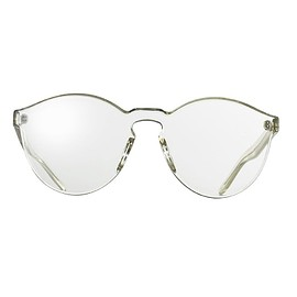 inmix - Inmix Women's Oversized Round Frame Transparent Lens Sunglasses Color White