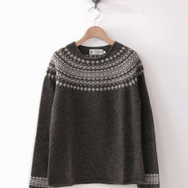 NOR'EASTERLY - WIDE NECK 2TONE NORDIC SWEATER