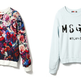 MSGM - flower print sweat/blue logo sweat