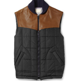 Band of Outsiders - Leather-Trimmed Quilted Gilet