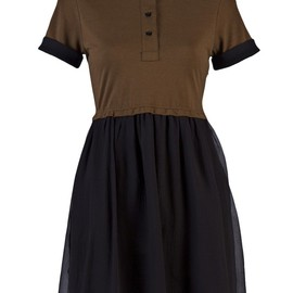 CARVEN - Polo dress with chiffon in olive and navy