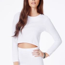 missguided - Bibianka White Crop Top With Curve Hem