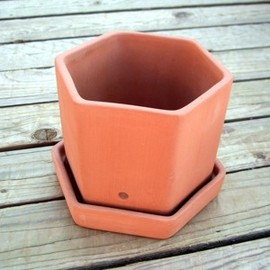 WESTON MILL POTTERY - Hexagonal Herb Pot & Tray
