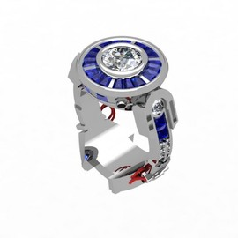Paul Michael Design - Custom made R2D2 Engagement Ring