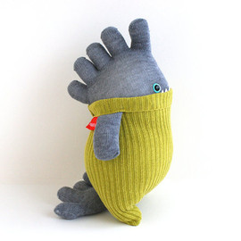 Little SockOSaurus Rory, lime green sweater plush