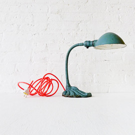 Industrial Lighting - Vintage Gooseneck Desk Lamp w/ Neon Orange Pink Color Cord