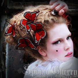 Spoiled Cherry - Butterfly hair clip Monarch - RED