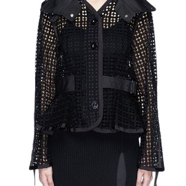 sacai luck - RUFFLE WRAP COLLAR CUTOUT JACKET