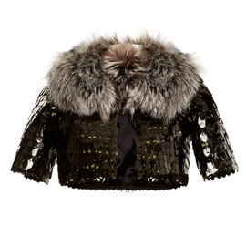 MARC JACOBS - Owl Sequin Embellished Bed Jacket With Fox Fur Collar