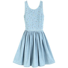 Mulberry - Bow Back Gems Dress Light Blue Denim