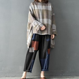 Linen Oversize shirt - Linen Oversize shirt, asymmetric large size plaid t-shirt, women pullover