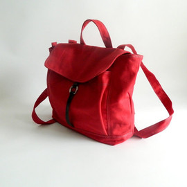 christystudio - Back to School SALE - Tanya in RED - unisex back pack / satchel / Rucksack