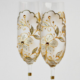 NevenaArtGlass - CRYSTAL Champagne Flutes
