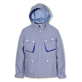 White Mountaineering - GINGHAM CHECK HOOD PARKA JACKET  blue white