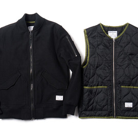 Reigning Champ, Haven - Reigning Champ for HAVEN - MA-1 Jacket w/ Insulator Vest (Black/Black)
