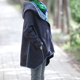 etsy - women cloak wool coat/ dark button hoodie cape coat