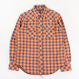 Engineered Garments - Heavy Twill Plaid Western Shirt - Orange/Navy -