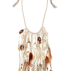 Etro - Suede, bone, feather and bead necklace