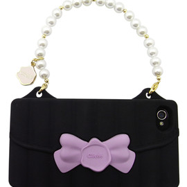 Candies - RIBBON HANDBAG W/Beads BLACKxPURPLE