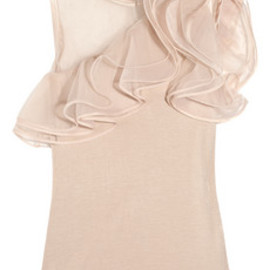 Valentino - Jersey and ruffled tulle top