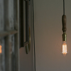 etsy - Wooden Handle Pendant Lamp