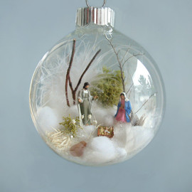 TheFittingPiece - Holy Family, Baby Jesus, Nativity Winter Scene Glass Ornament