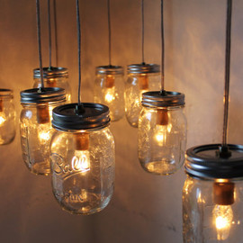 Mason Jar  - Canopy Mason Jar Chandelier Light - Original BootsNGus Design - Dining Room Table - Kitchen Island Lighting Fixture