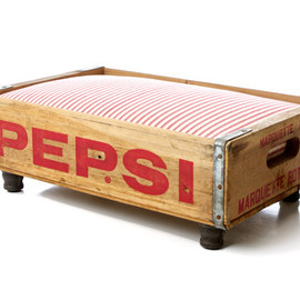 Luxury Vintage Pet Bed for Cat or Dog, Upcycled Soda Crate, Rustic Industrial Chic, Reversible Pepsi Canada Dry, Red & White Stripe