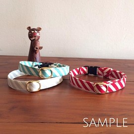 猫の首輪/bias stripe/red