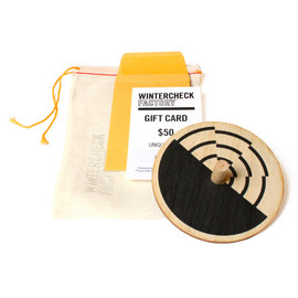 WINTERCHECK FACTORY - GIFTCARD, WOODEN TOP AND CLOTH PARTS BAG