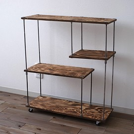 "wood iron shelf ""S"""