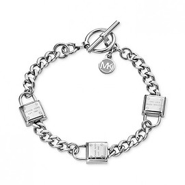 MICHAEL KORS - Cheap Michael Kors Silver-Tone Padlocks Chain Toggle Bracelet