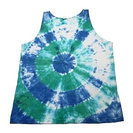 VINTAGE - Vintage 90s Tank Top Tie Dye Blue/White/Green Made in USA Mens Large