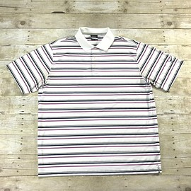 NIKE - Nike Golf Dri-Fit Striped White / Pink / Gray Golfing Polo Shirt Mens Size XL